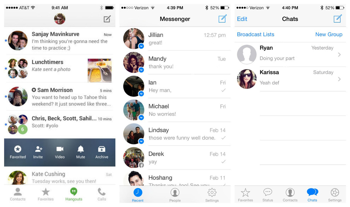 Hangouts (L) for iOS was redesigned and now looks much more similar to competitors like Facebook Messenger (C) and WhatsApp (R).